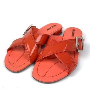 Prada, Salmon/Red Slip On Sandals